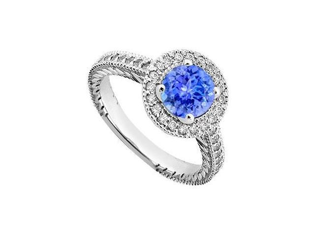 Created Tanzanite and Cubic Zirconia Halo Engagement Rings in 14K White Gold 0.85.ct.tgw