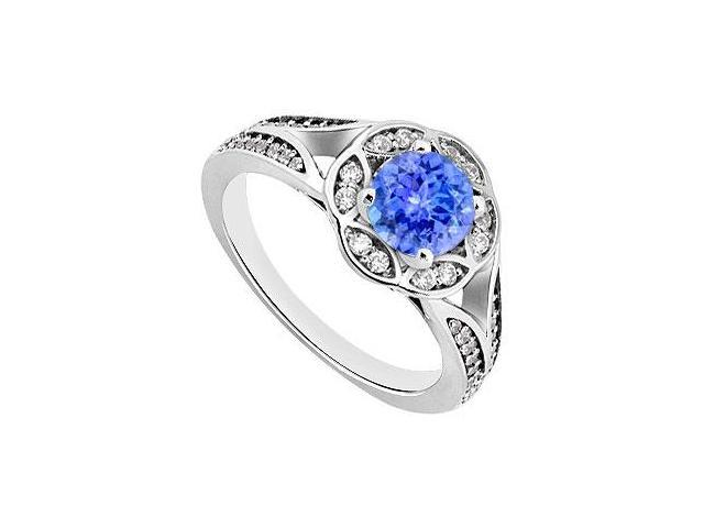 Created Tanzanite and Cubic Zirconia Floral Engagement Rings in 14K White Gold 0.75.ct.tgw