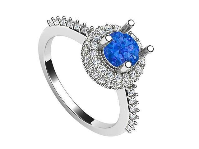 September Birthstone Created Sapphire and CZ Halo Engagement Ring in 14K White Gold 1.25.ct.tw