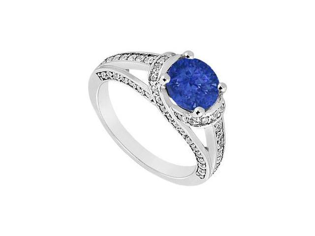 Split Prong September Birthstone Created Sapphire and CZ Engagement Ring in 14K White Gold