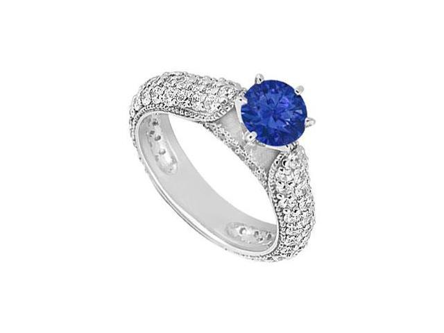Tiffany Style September Birthstone Created Sapphire Engagement Ring in 14K White Gold 1.50 ct.tw