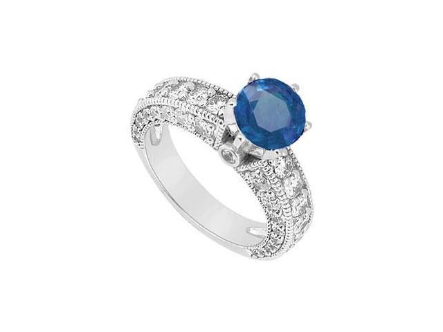 September Birthstone Created Sapphire Milgrain Engagement Ring in 14K White Gold 2.00 ct.tgw