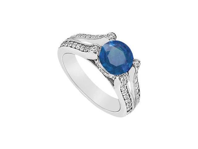 September Birthstone Created Sapphire and CZ Engagement Ring in 14K White Gold 1.00 ct.tgw