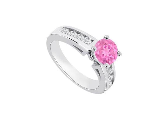 September Birthstone Created Pink Sapphire   CZ Engagement Rings 14K White Gold 0.80.ct.tgw