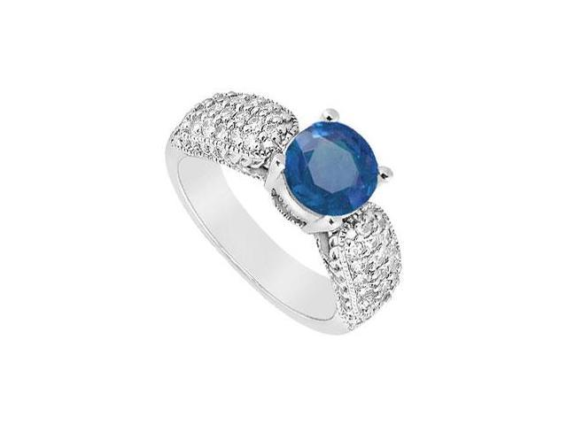 Wide Shank September Birthstone Created Sapphire Milgrain Engagement Ring in 14K White Gold 1.00