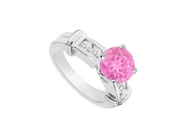 September Birthstone Created Pink Sapphire  CZ Engagement Rings 14K White Gold 0.66.ct.tgw