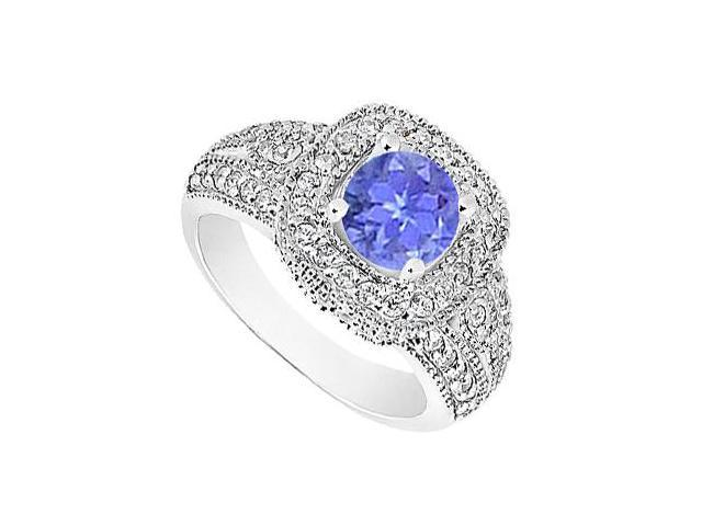 14K White Gold Tanzanite Engagement Ring with Milgrain Diamonds of 1.15 Carat TGW