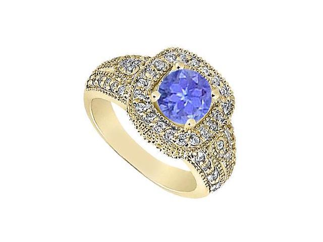 14K Yellow Gold Tanzanite Engagement Ring with Milgrain Diamonds of 1.15 Carat TGW