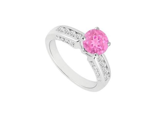 September Birthstone Created Pink Sapphire  CZ Engagement Rings 14K White Gold 1.10.ct.tgw