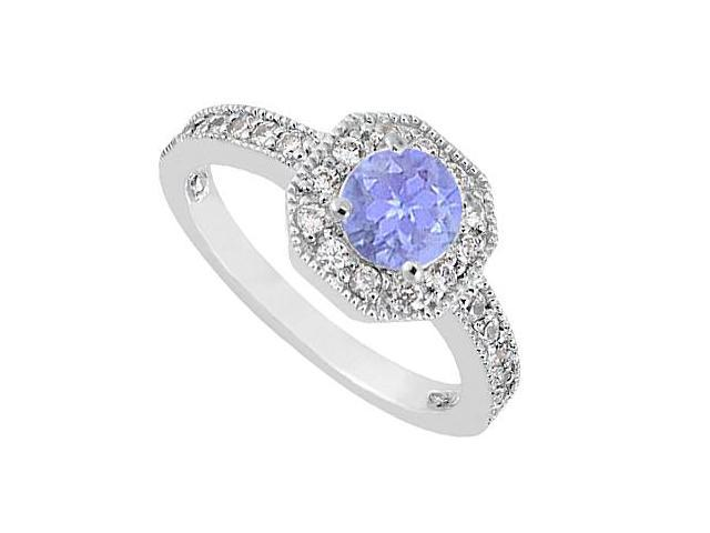 Tanzanite and Diamond Milgrain Engagement Ring in 14K White Gold of 0.85 Carat TGW