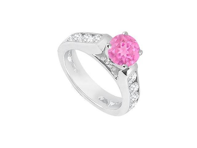 Created Pink Sapphire  CZ Engagement Rings 14K White Gold 1.10.ct.tgw
