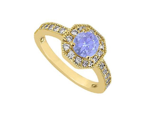 Tanzanite and Diamond Milgrain Engagement Ring in 14K Yellow Gold of 0.85 Carat TGW