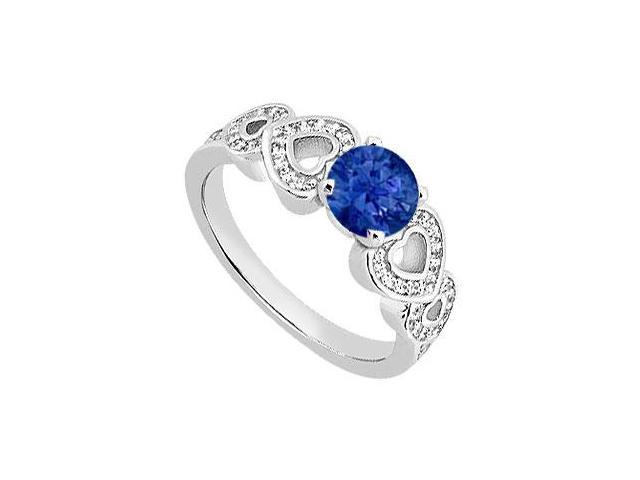 Diamond Heart Engagement Ring with Natural Sapphire in 14K White Gold 0.90 Carat TGW