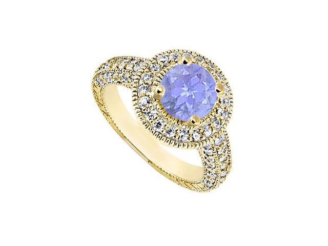 Halo Engagement Ring with Diamond and Tanzanite Set in 14K Yellow Gold 2.15 Carat TGW