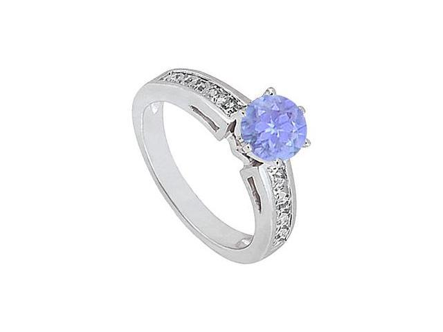 14K White Gold Channel Set Diamond with Tanzanite Engagement Ring 1.50 Carat Total Gem Weight