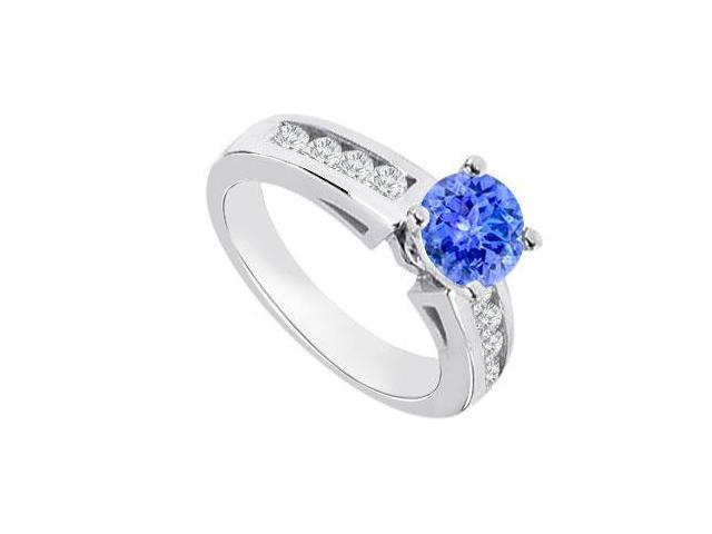 December Birthstone Created Tanzanite  CZ Engagement Rings 14K White Gold 0.80.ct.tgw
