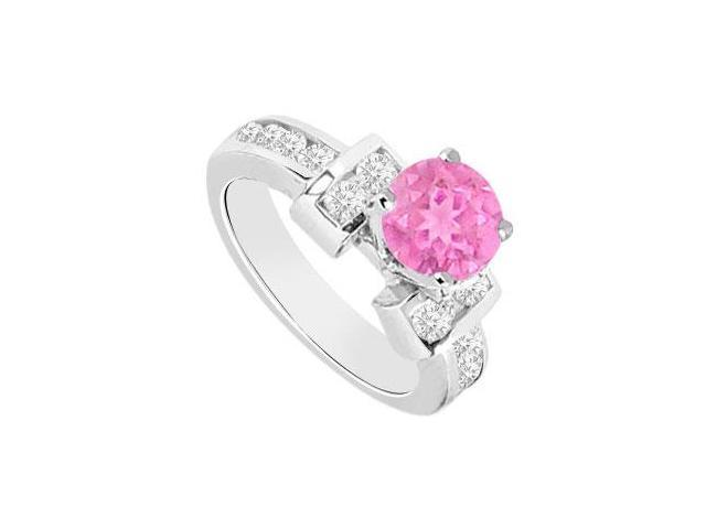 September Birthstone Created Pink Sapphire and CZ Engagement Rings 14K White Gold 0.85.ct.tgw