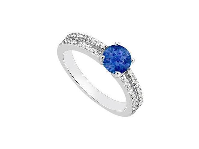 14K White Gold Engagement Ring with Natural Blue Sapphire and Diamond 1 Carat TGW