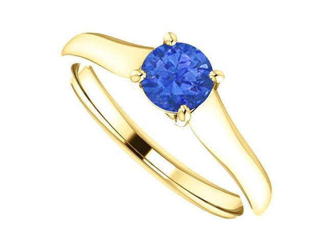 September Birthstone Blue Sapphire Engagement Ring in 14K Yellow Gold 0.50 CT TGW
