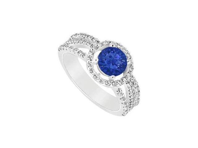 September Birthstone Created Sapphire  CZ Halo Engagement Rings in 14K White Gold 1.25 ct.tgw