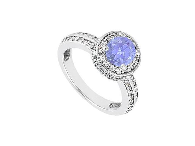 14K White Gold Engagement Ring with Tanzanite and Diamond 1 Carat Total Gem Weight