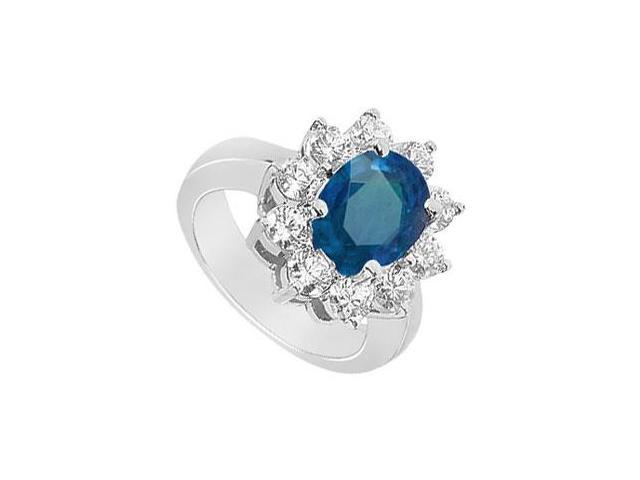 Sapphire and Diamond Engagement Ring  14K White Gold - 2.50 CT TGW