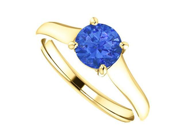 September Birthstone Created Blue Sapphire Engagement Ring in 14K Yellow Gold 1 CT TGW