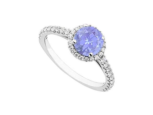 Tanzanite and Diamond Halo Ring in 14K White Gold 1.00.ct.tgw