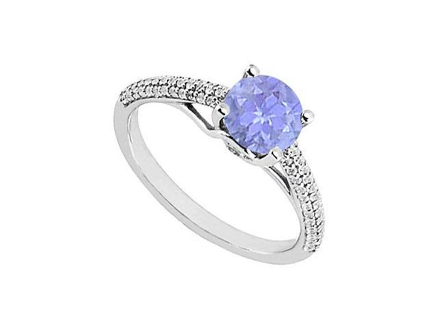 Tanzanite and Diamond Engagement Ring in 14K White Gold 1.00 ct.tgw