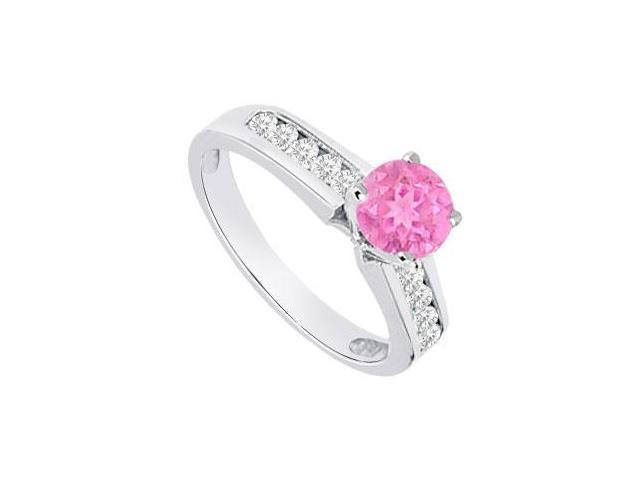 September Birthstone Created Pink Sapphire and CZ Engagement Rings 14K White Gold 0.80.ct.tgw