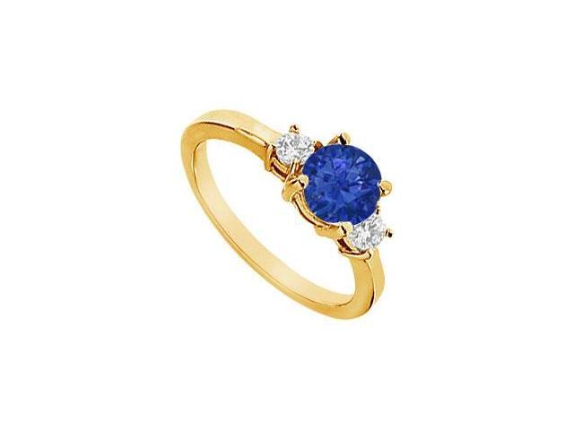 Sapphire and Diamond Engagement Ring  14K Yellow Gold - 1.25 CT TGW