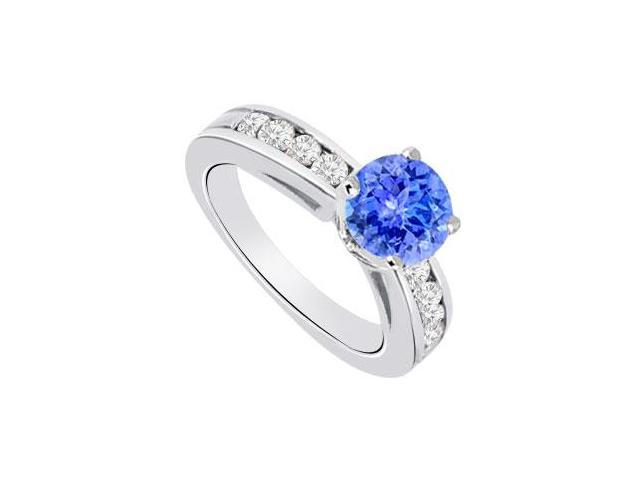 December Birthstone Created Tanzanite  CZ Engagement Rings 14K White Gold 0.85.ct.tgw