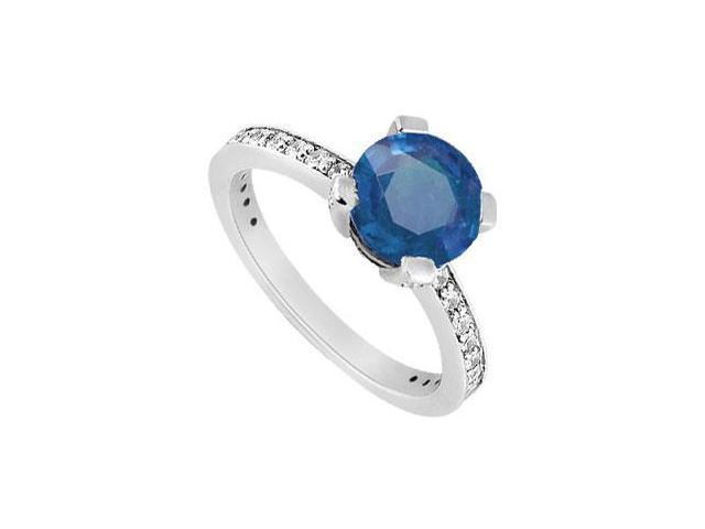 Prong Set September Birthstone Created Sapphire and CZ Engagement Ring in 14K White Gold 1ct.tw