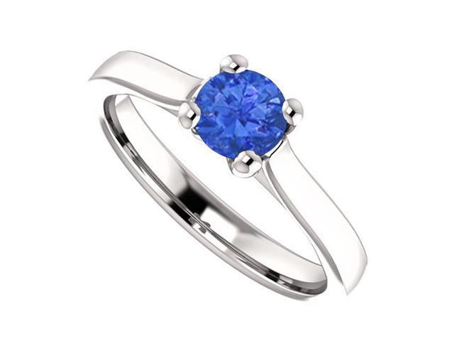 September Birthstone Blue Sapphire Engagement Rings in 14K White Gold 0.50 CT TGW