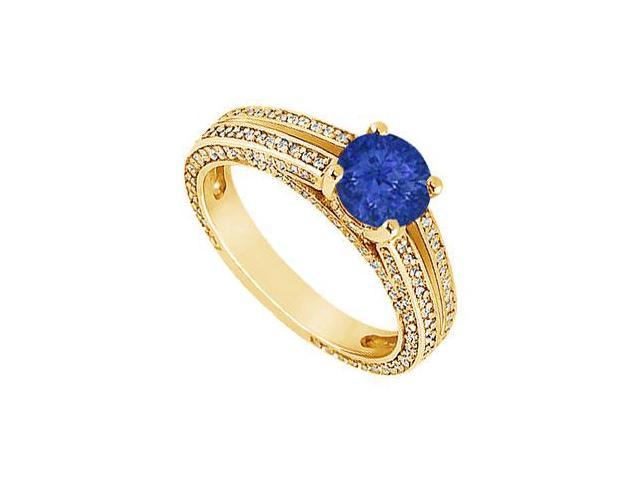 Sapphire and Diamond Engagement Ring  14K Yellow Gold - 3.00 CT TGW