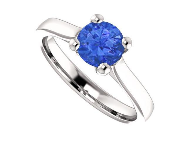 September Birthstone Created Blue Sapphire Engagement Rings in 14K White Gold 1 CT TGW