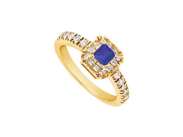 Sapphire and Diamond Engagement Ring  14K Yellow Gold - 0.50 CT TGW