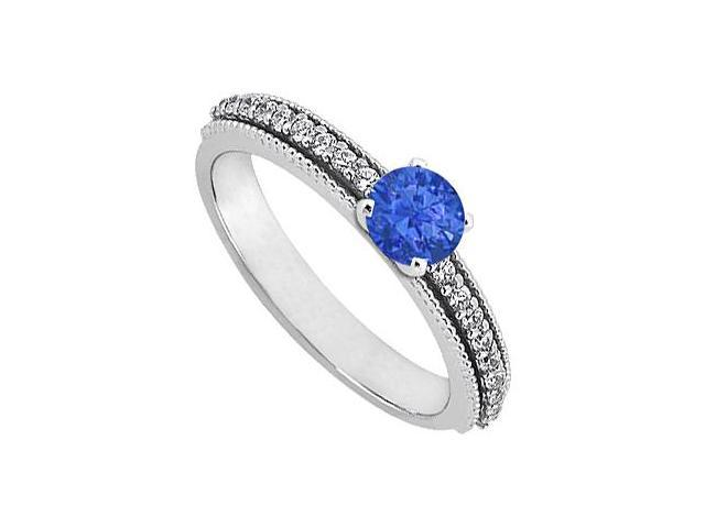 September Birthstone Sapphire  Diamond Engagement Rings 14K White Gold 0.75 CT TGW