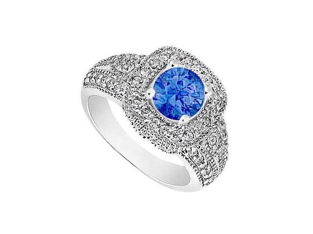 Diamond Milgrain Engagement Ring with Natural Blue Sapphire in White Gold 14K 1.15 Carat TGW