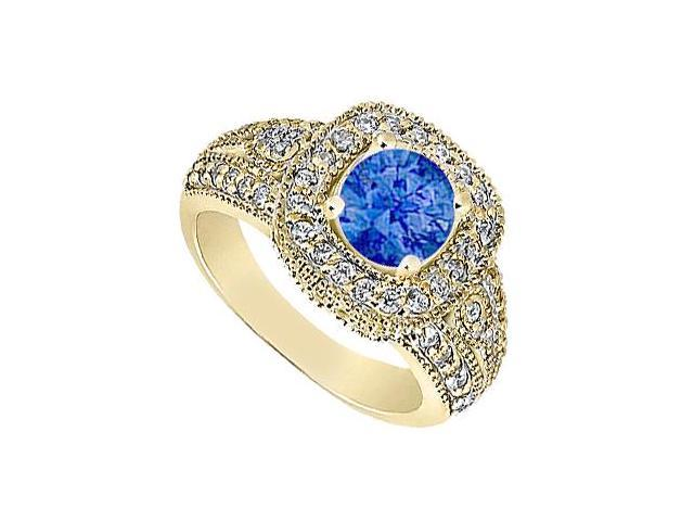 Diamond Milgrain Engagement Ring with Natural Blue Sapphire in Yellow Gold 14K 1.15 Carat TGW