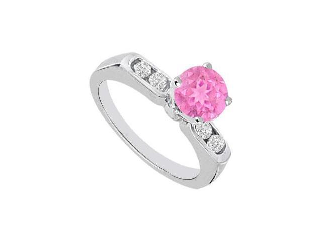 September Birthstone Created Pink Sapphire and CZ Engagement Rings 14K White Gold 0.66.ct.tgw