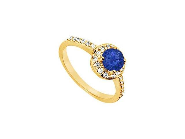 Sapphire and Diamond Engagement Ring  14K Yellow Gold - 1.50 CT TGW