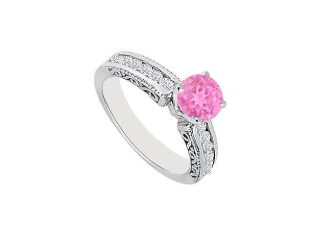 Created Pink Sapphire  CZ  Filigree Engagement Rings 14K White Gold 0.75.ct.tgw