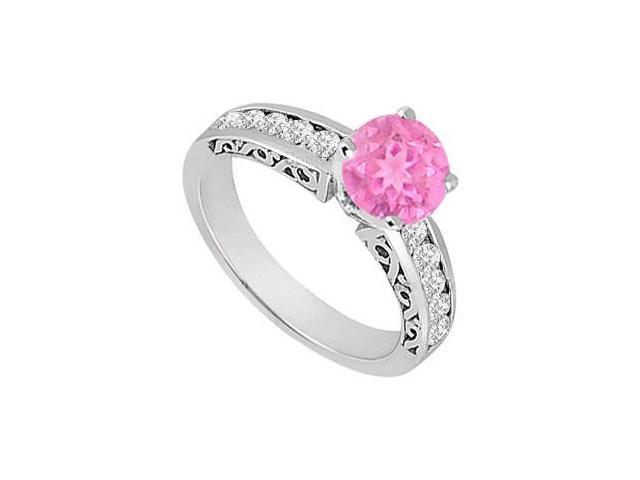 Created Pink Sapphire and Cubic Zirconia Filigree Engagement Rings in 14K White Gold 0.80.ct.tgw