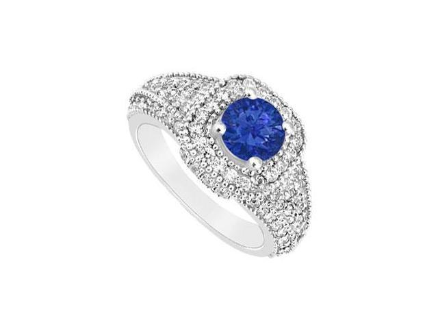 September Birthstone Created Sapphire and CZ Wide Band Engagement Rings in 14K White Gold