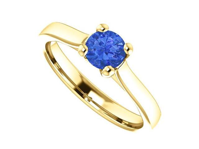 September Birthstone Blue Sapphire Engagement Rings in 14K Yellow Gold 0.50 CT TGW