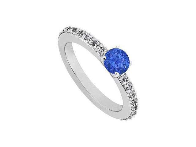 September Birthstone Sapphire  Diamond Engagement Rings 14K White Gold 0.75 CT TGW