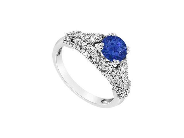 September Birthstone Created Sapphire  CZ Filigree Engagement Rings in 14K White Gold