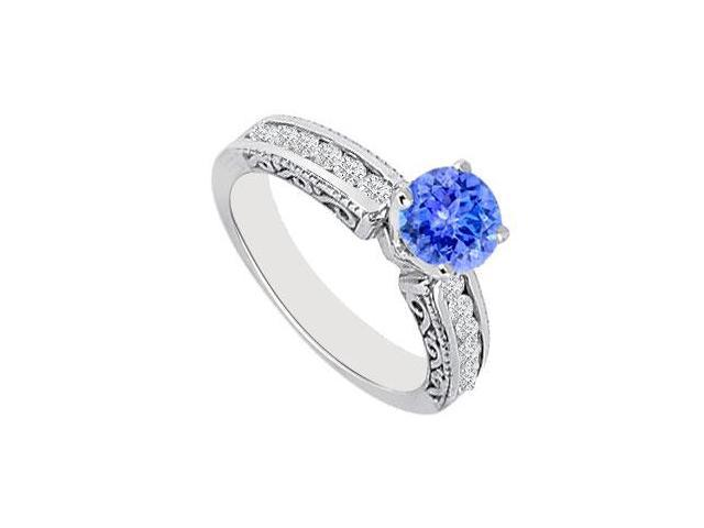 December Birthstone Created Tanzanite  CZ Filigree Engagement Rings in14K White Gold 0.75ct.tgw
