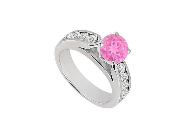 September birthstone Created Pink Sapphire  CZ Engagement Rings in 14kt White Gold 0.75.ct.tgw